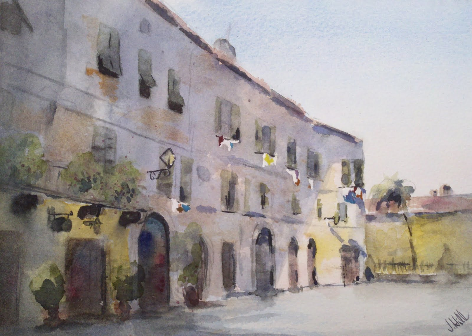 """Laundry Day In Radicondoli, Italy"" original fine art by Julie Hill"