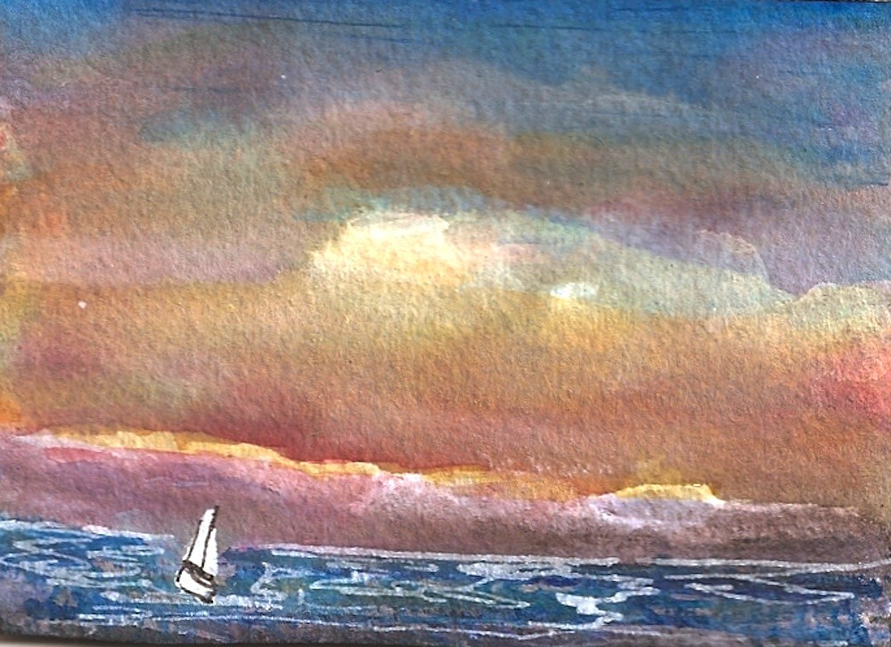 """""""ACEO Red Skies At Night, Seascape"""" original fine art by Penny Lee StewArt"""