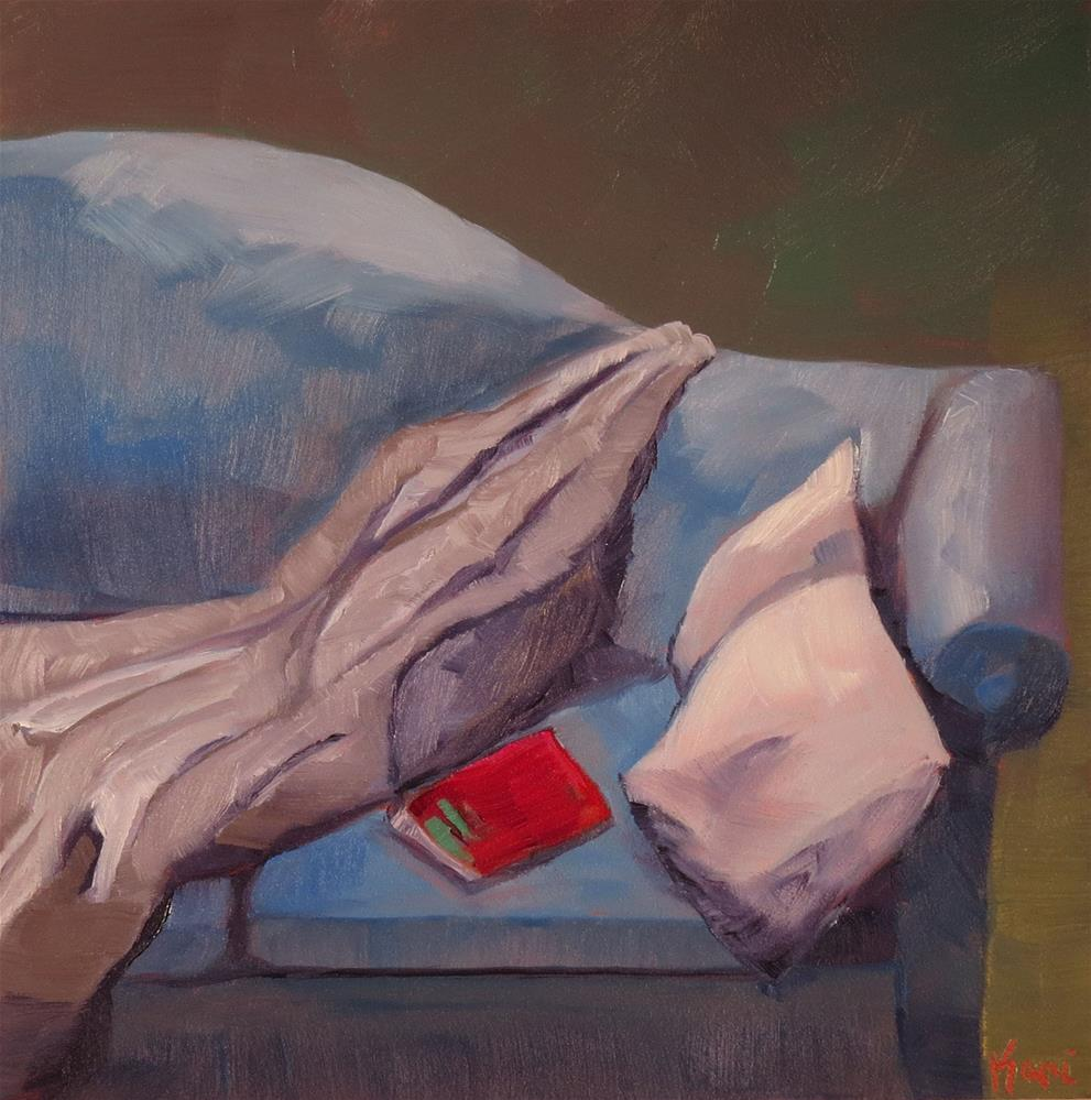 """Reading Spot"" original fine art by Kari Melen"