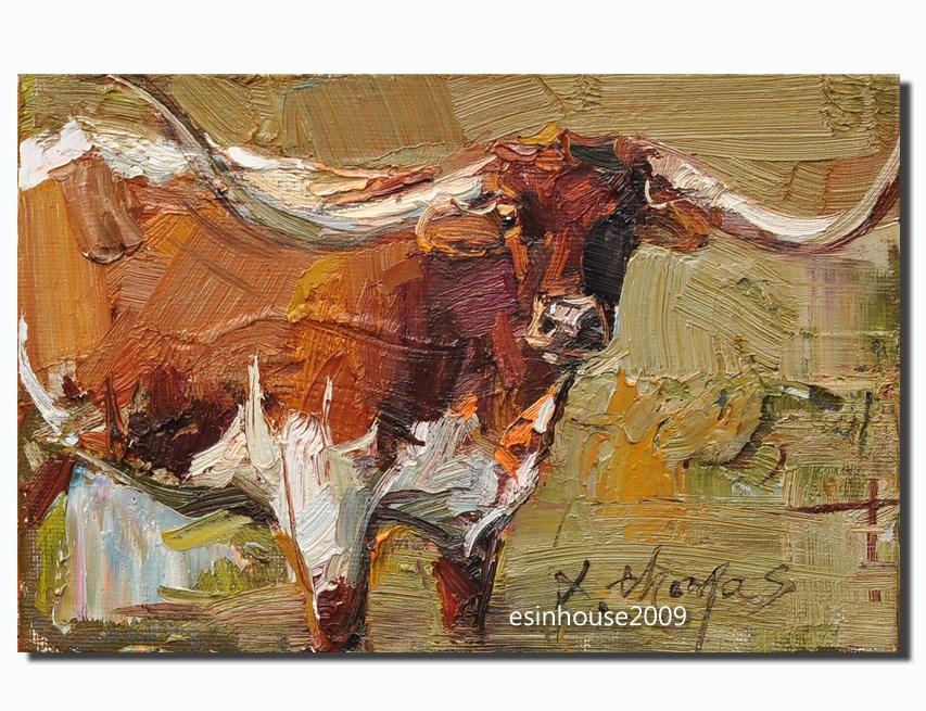 """Texas Longhorn cattle"" original fine art by Thomas Xie"