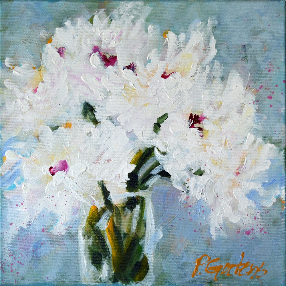 """White Peonies in Vase"" original fine art by Pamela Gatens"