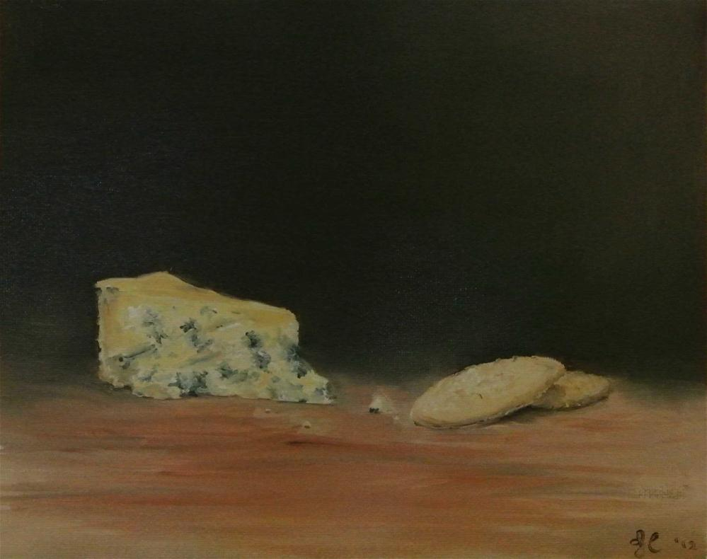 """Blue Stilton Cheese and Crackers"" original fine art by James Coates"