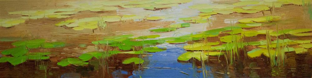"""Waterlilies Autumn palette Original Handmade oil Painting Signed"" original fine art by V Y"