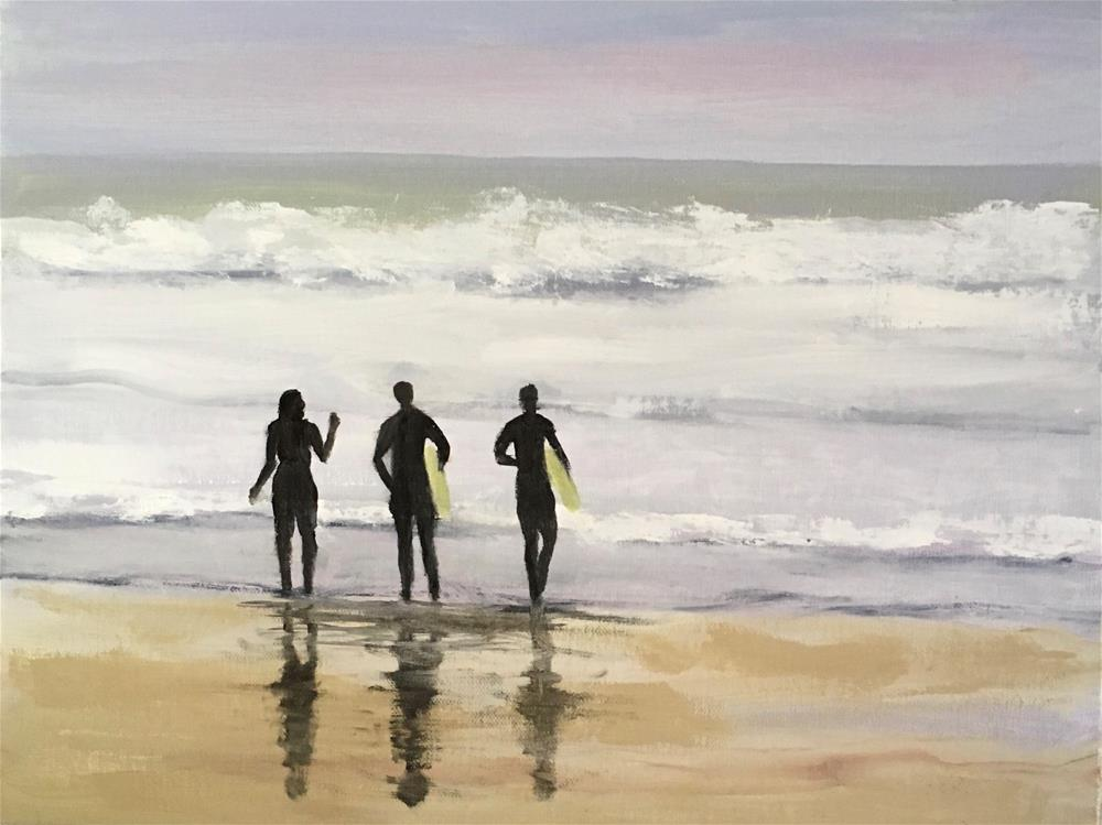 """Learning to Surf"" original fine art by Patty Barnes"