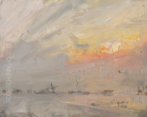 """Misty Morning Sunrise"" original fine art by Roos Schuring"