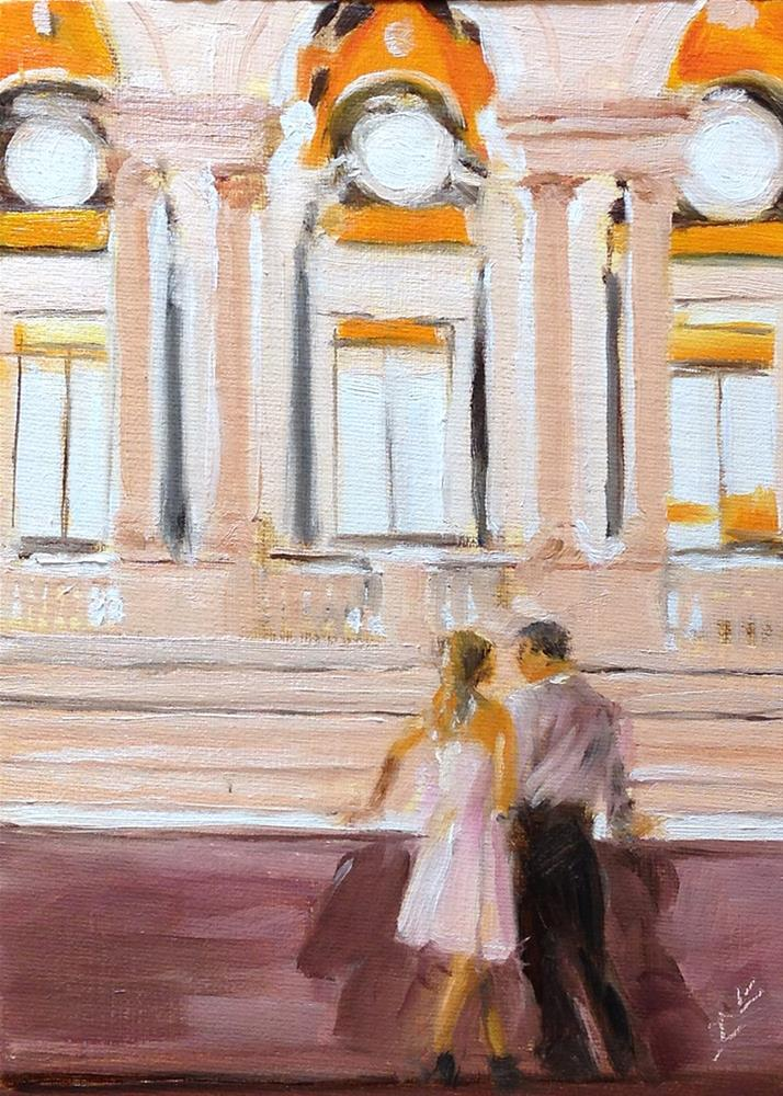 """Romance in the Library"" original fine art by Linda Lowery"