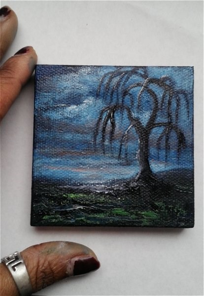 """Mini Oil Painting Tree Silhouette Weeping Willow"" original fine art by Camille Morgan"