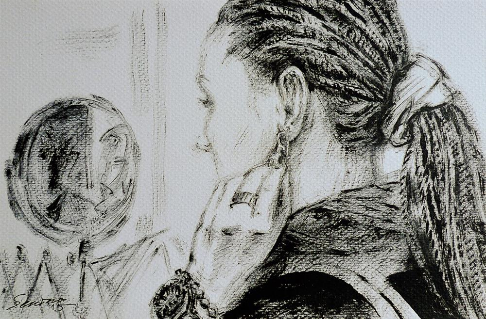 """New earrings"" original fine art by Elena Senina"