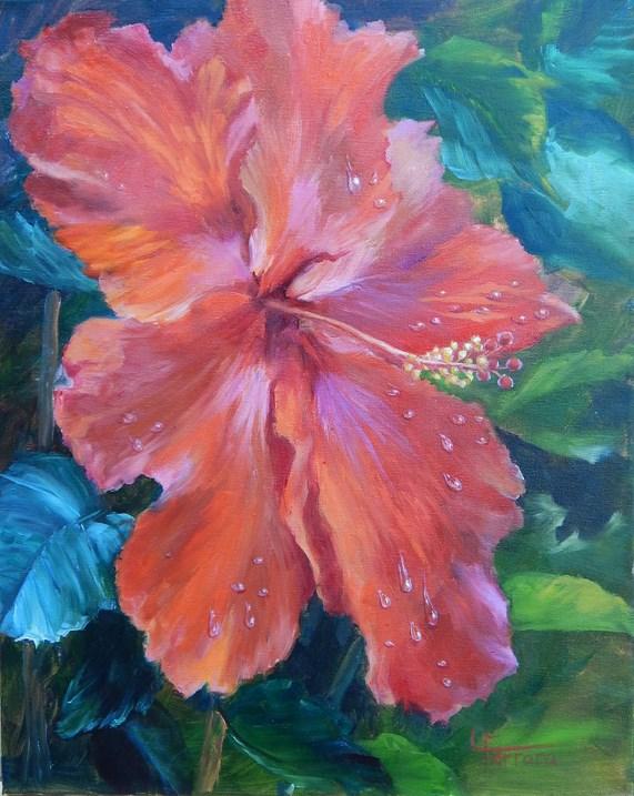 """""""Hibiscus"""" original fine art by Lina Ferrara"""