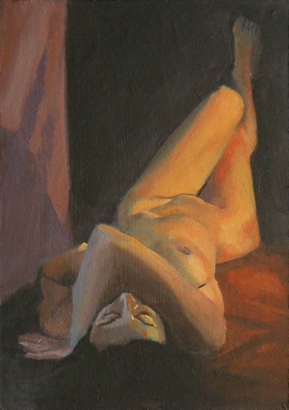 """Forshortend nude"" original fine art by Peter Orrock"