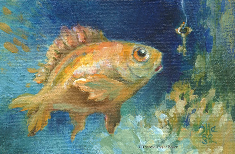 """Fish With a Key"" original fine art by Theresa Taylor Bayer"