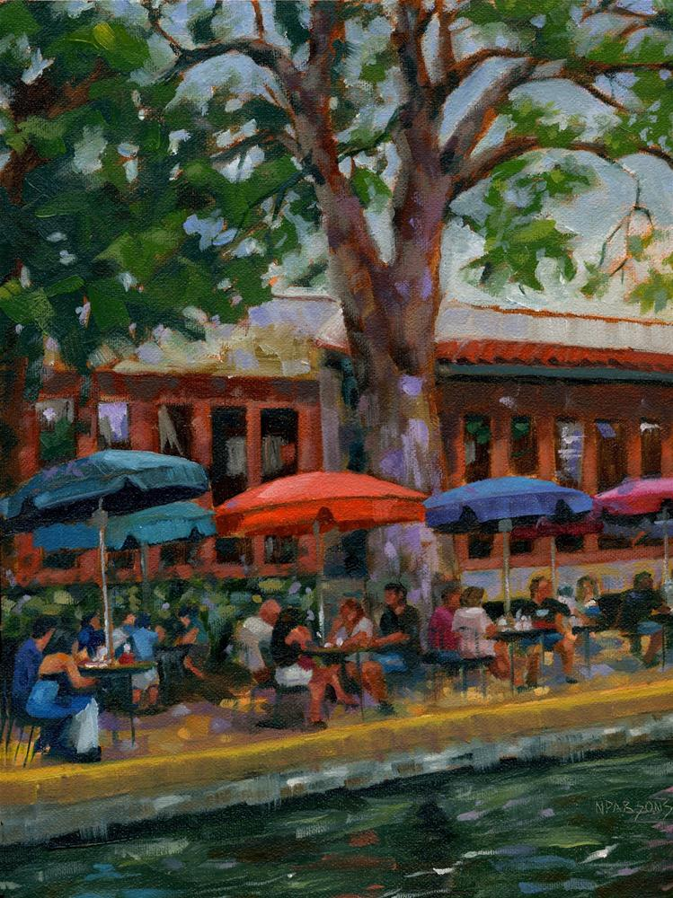 """River Walk Diners"" original fine art by Nancy Parsons"