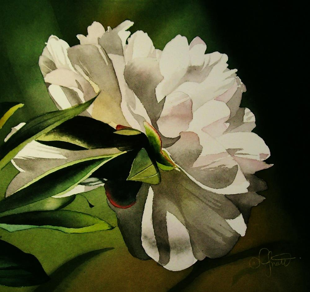 """Evening Peony"" original fine art by Jacqueline Gnott, whs"