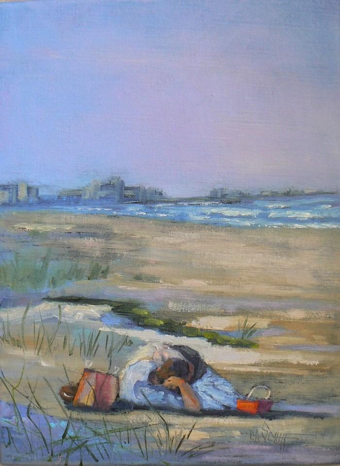 """Original Oil Beach Painting, 9x12 Wind in her Hair"" original fine art by Carol Schiff"