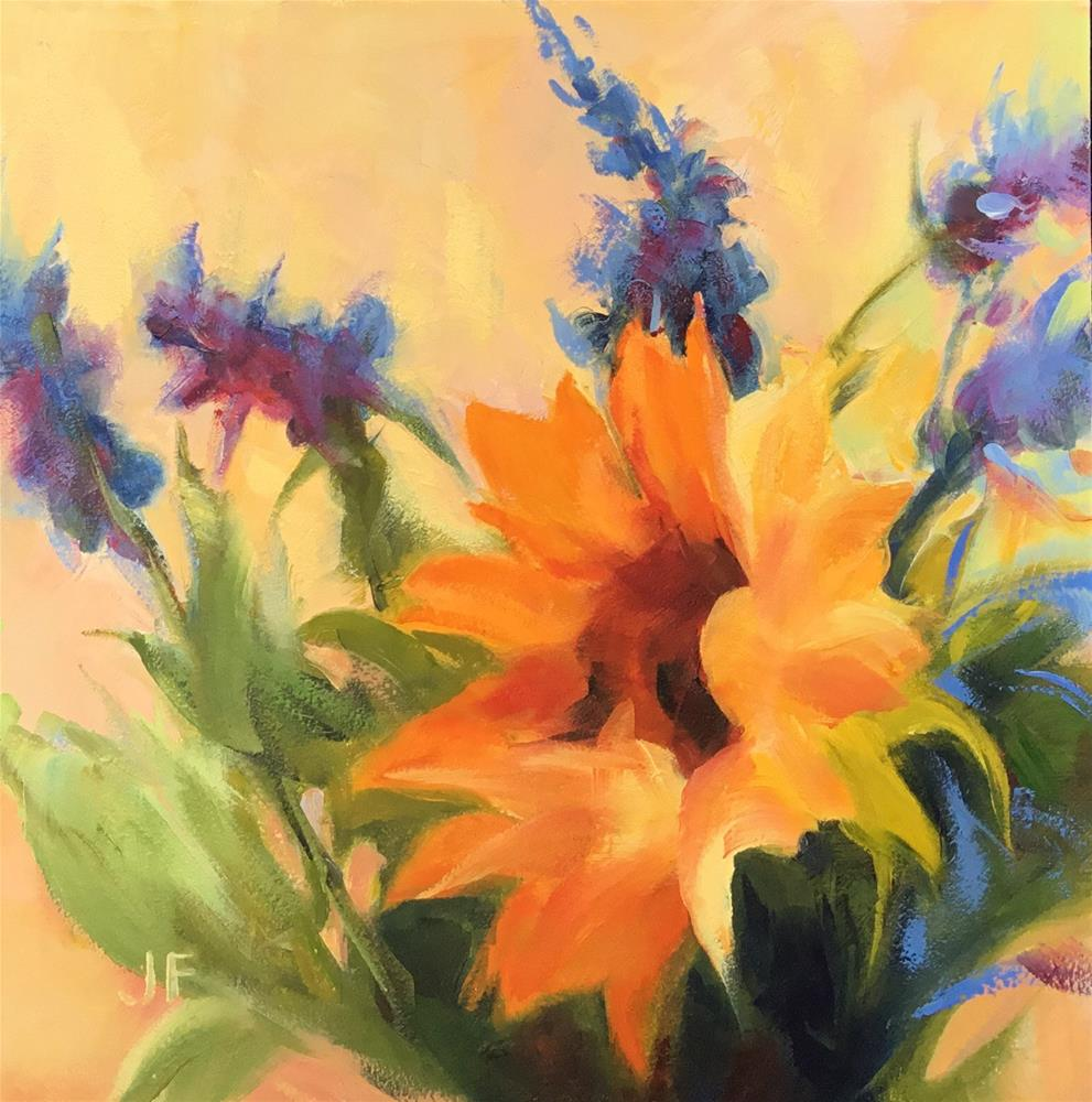 """Sunflower and Salvia"" original fine art by Jean Fitzgerald"