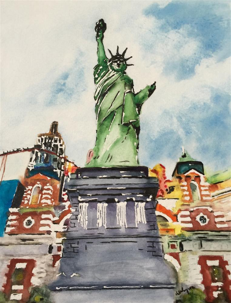 """Statue of Liberty, Las Vegas"" original fine art by Juan Velasquez"