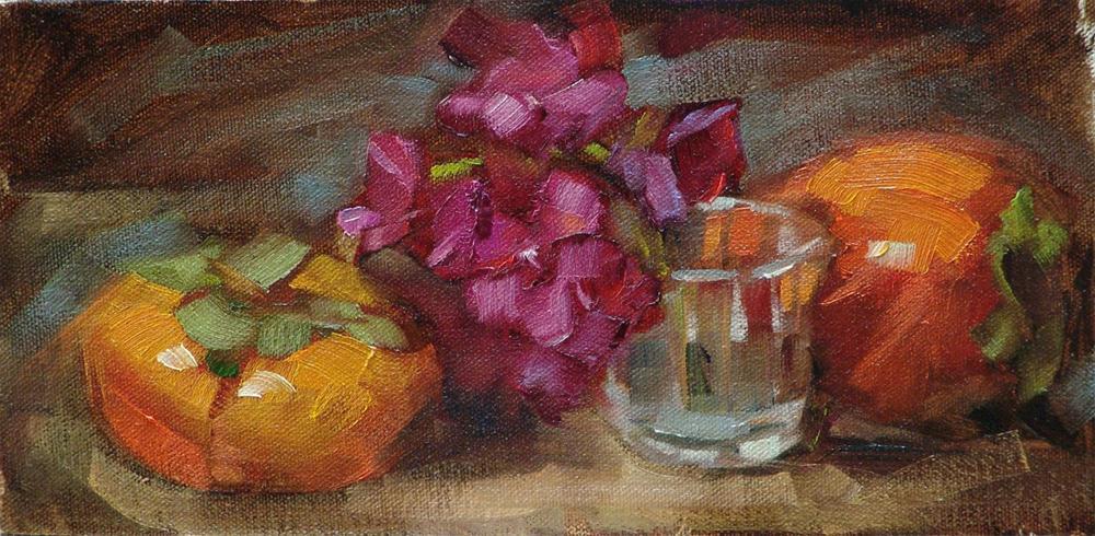 """Geranium and Persimmon"" original fine art by Barbara Schilling"