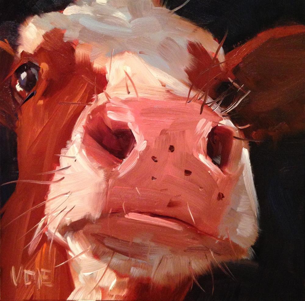 """#177 UConn Cow"" original fine art by Patty Voje"
