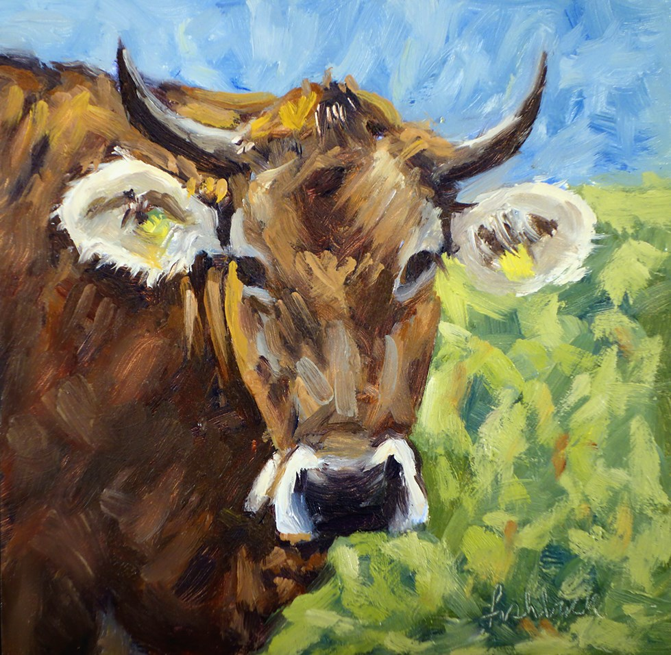 """A Swiss Cow"" original fine art by Daniel Fishback"