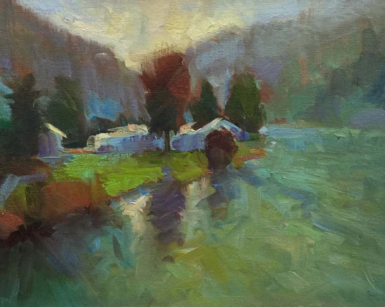"""""""Siuslaw Winter Scene"""" original fine art by Patti McNutt"""