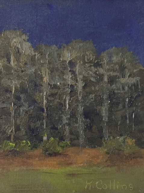 """Nocturne Pines"" original fine art by Kathy Collins"