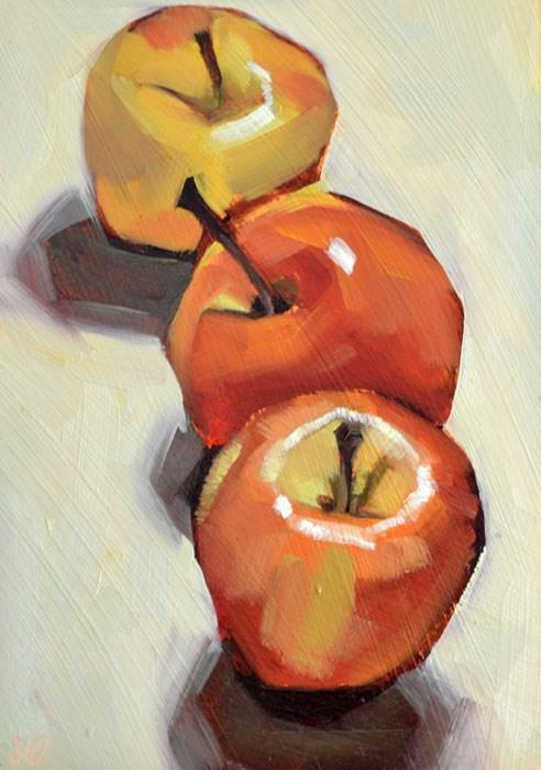 """Three apples"" original fine art by Jessica Green"