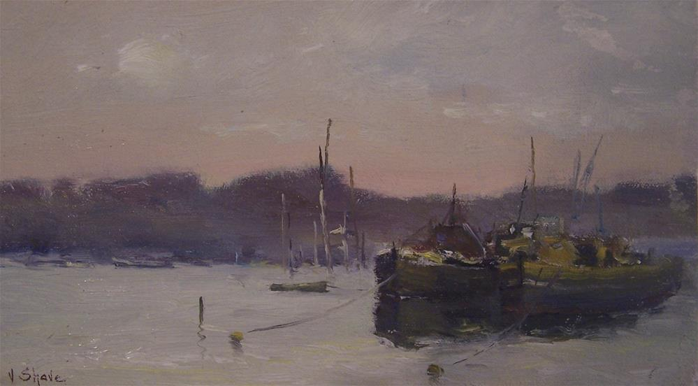 """Barges At Pin Mill"" original fine art by John Shave"