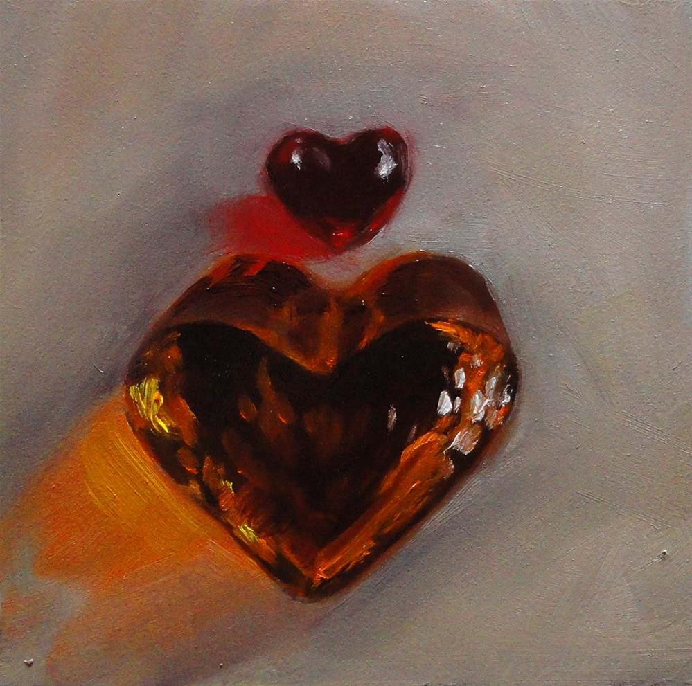 """Crimson & Amber Hearts"" original fine art by Cietha Wilson"