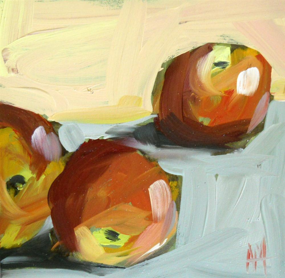 """three peaches"" original fine art by Angela Moulton"
