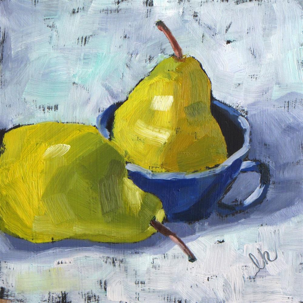 """Cup and Two Pears"" original fine art by Louise Kubista"