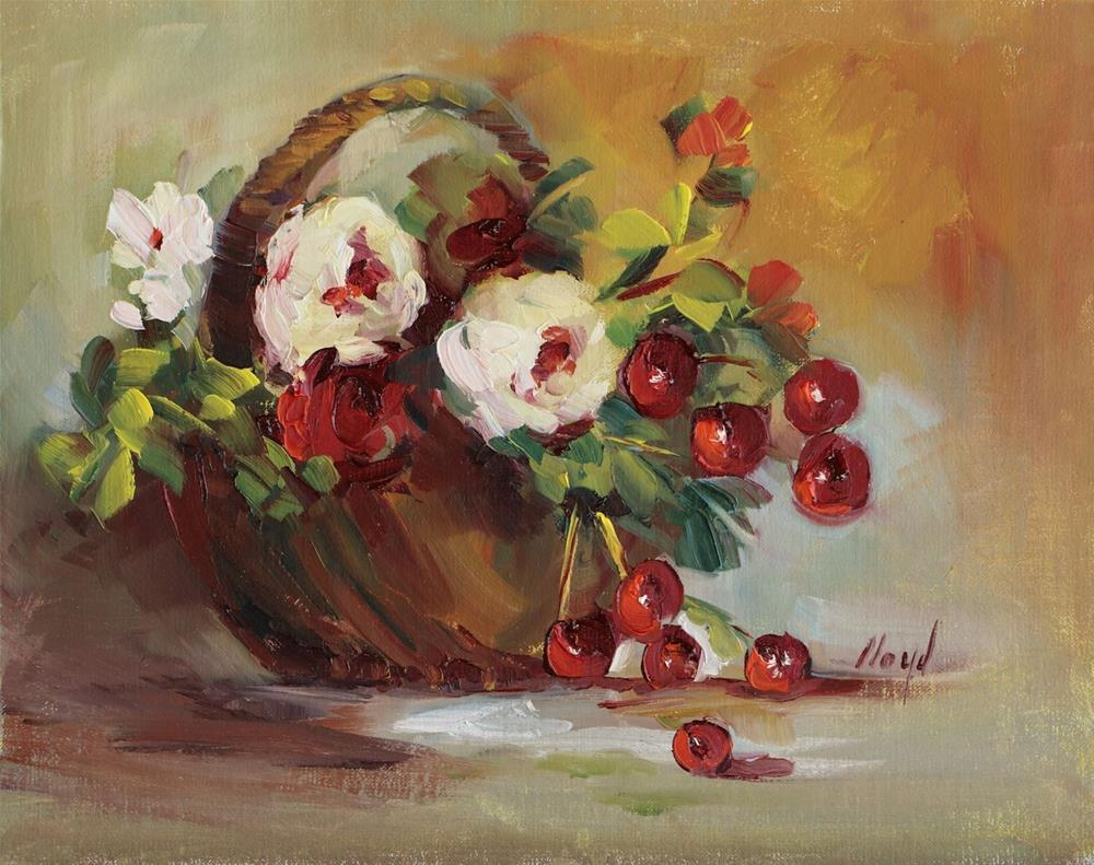 """Basket of Flowers with Cherries"" original fine art by Diane Lloyd"