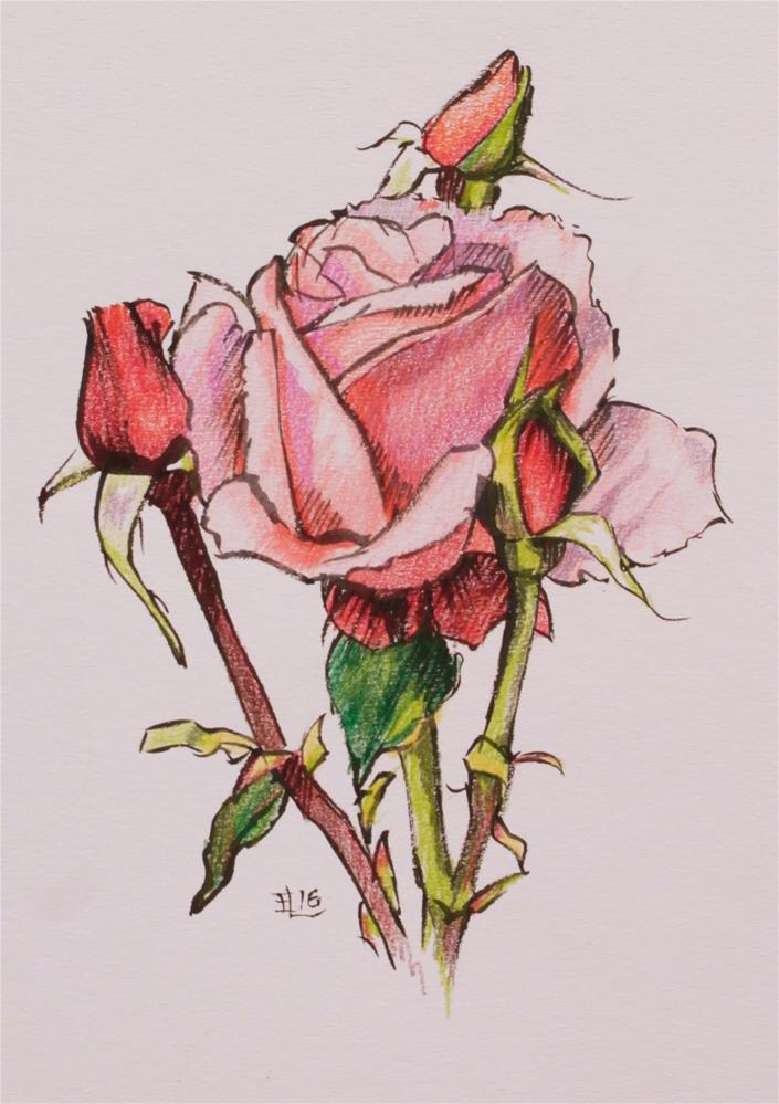 """Festive Rose"" original fine art by Emilia Leinonen"
