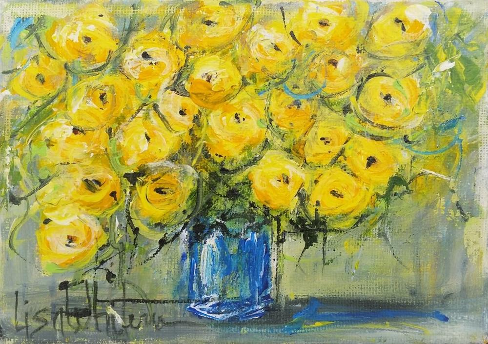 """103 - Yellow Explosion"" original fine art by Lisa Rogers"