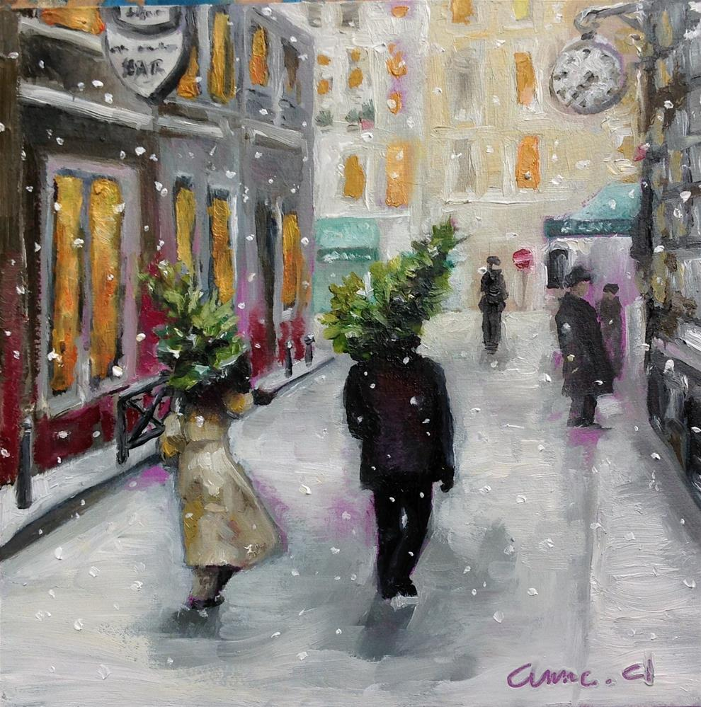"""Two Christmas Trees Going Home - Quartier Latin, Paris"" original fine art by Anne Ducrot"