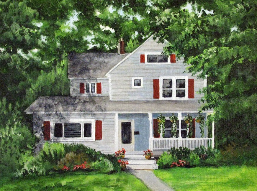 """House with Red Shutters"" original fine art by Nan Johnson"