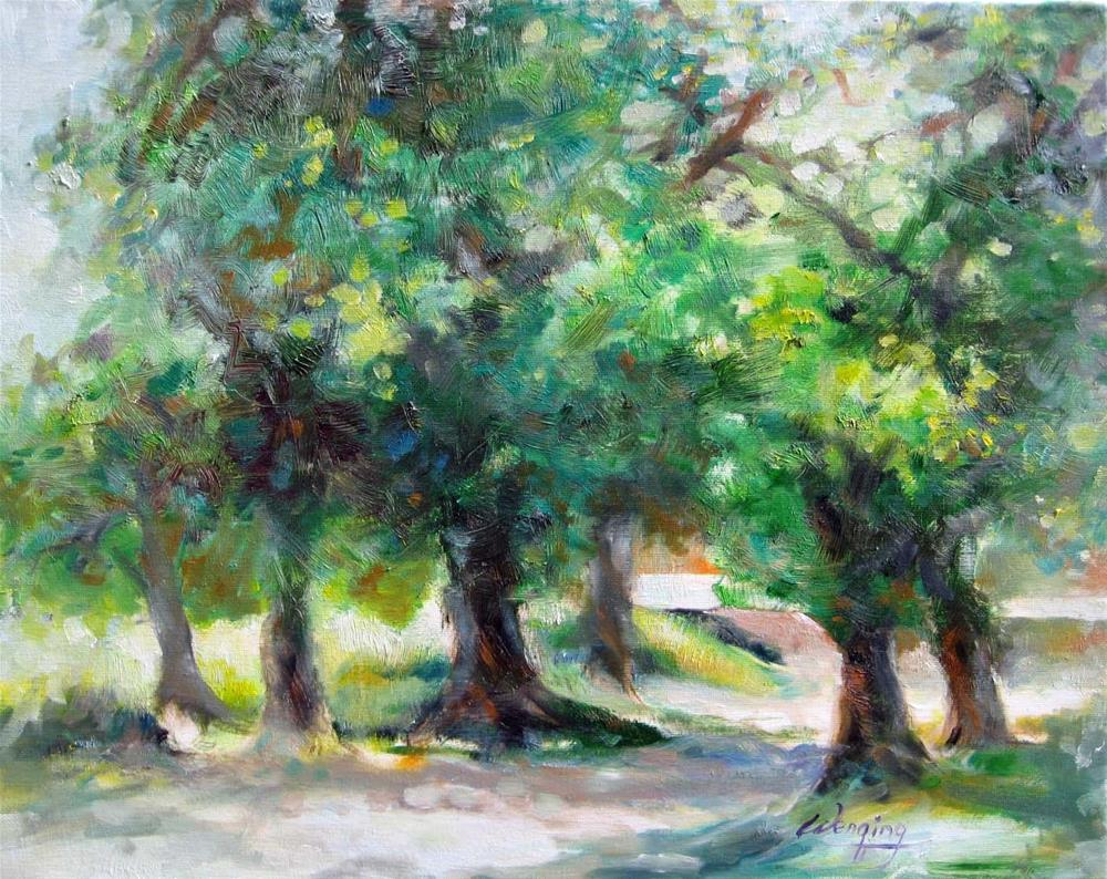 """old town old trees"" original fine art by Wenqing Xu"