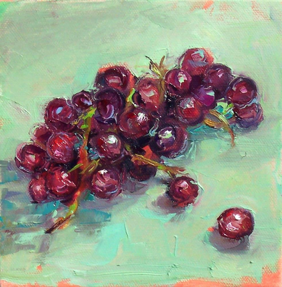 """Gloria's Grapes,still life,oil on canvas,6x6.priceNFS"" original fine art by Joy Olney"