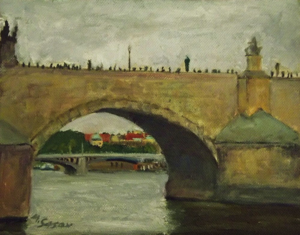 """Charles Bridge Prague - rainy weather"" original fine art by Michael Sason"