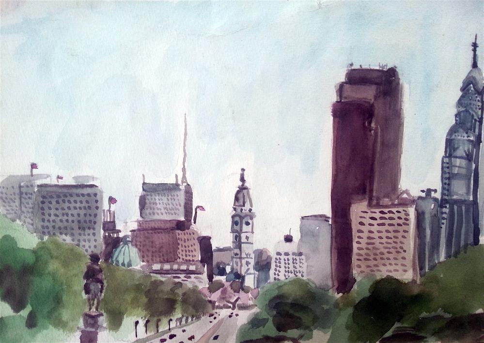 """View from the Philadelphia Art Museum"" original fine art by Nava Judith"