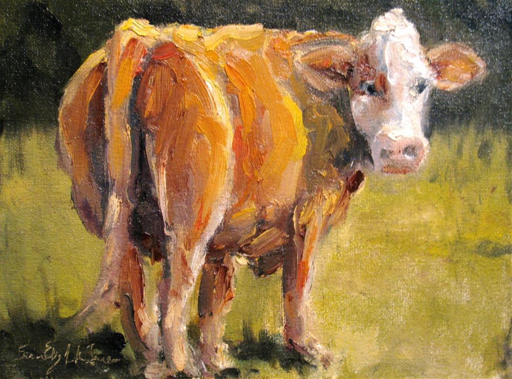 """Red Carpet Cow"" original fine art by Susan Elizabeth Jones"