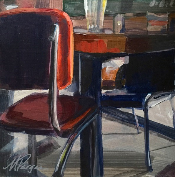 """Red Chair, Nobody There"" original fine art by Mary Pargas"