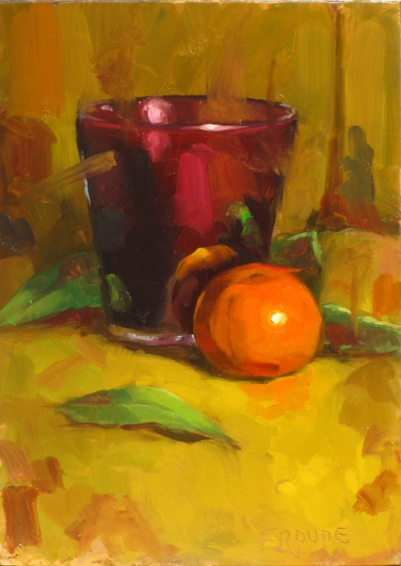 """orange and candle"" original fine art by Dave Froude"