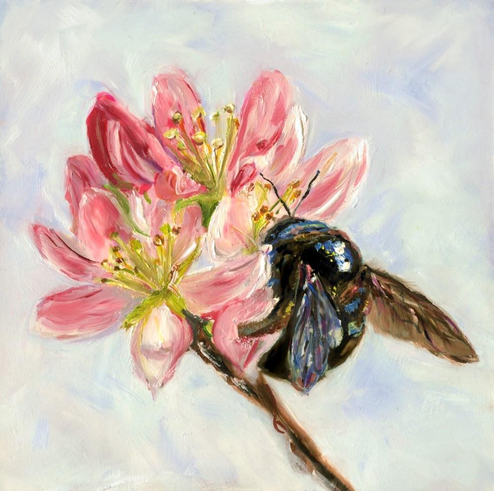 The Flower & The Bee original fine art by Sunny Avocado