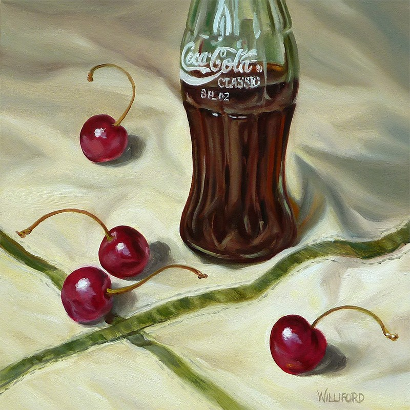 """Four Cherries and a Coke"" original fine art by Kathleen Williford"