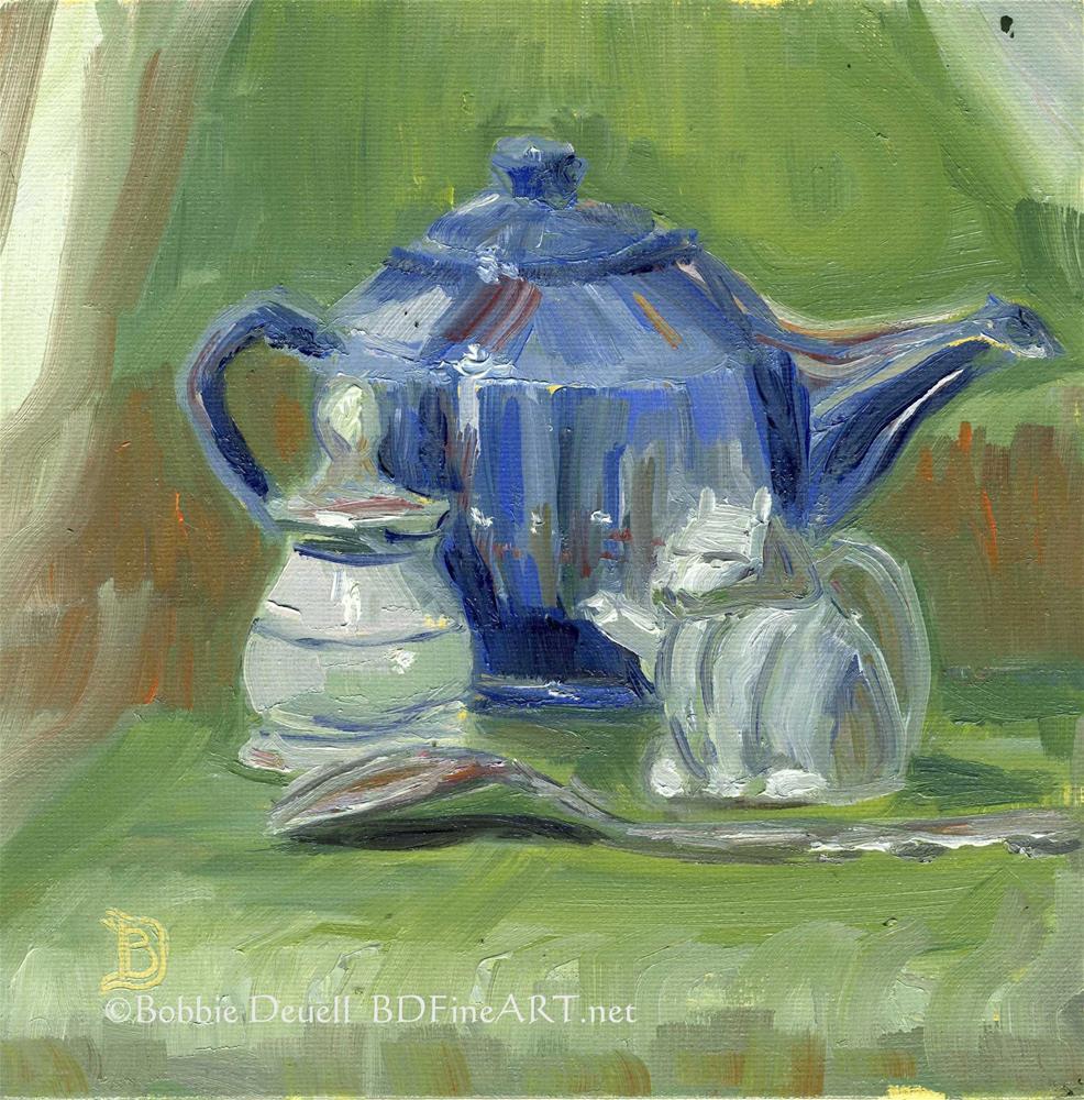 """""""#3 Blue Tea Pot Still Life"""" original fine art by Bobbie Deuell"""
