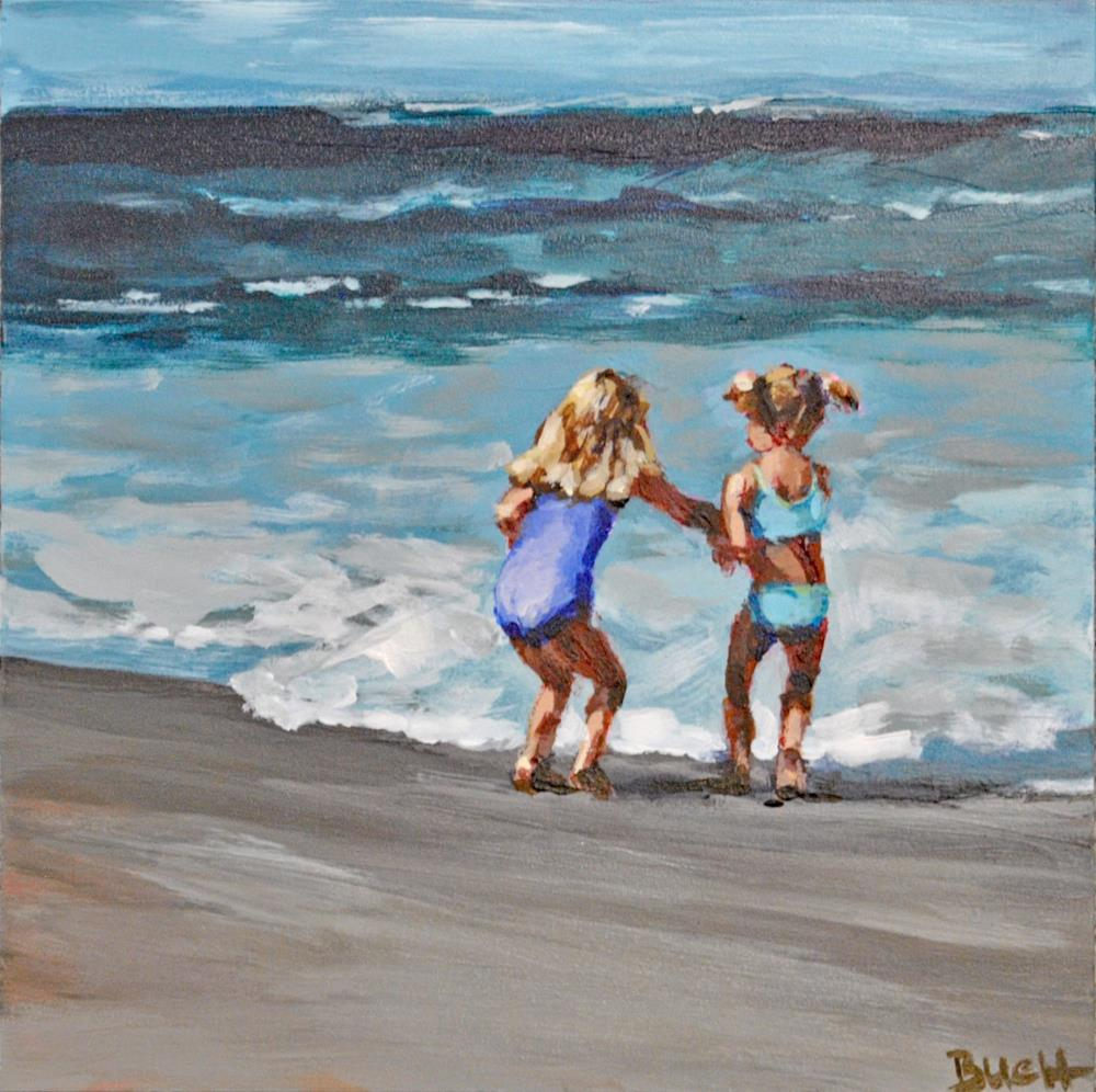"""The Hardest Part Is Getting Your Toes Wet"" original fine art by Shari Buelt"