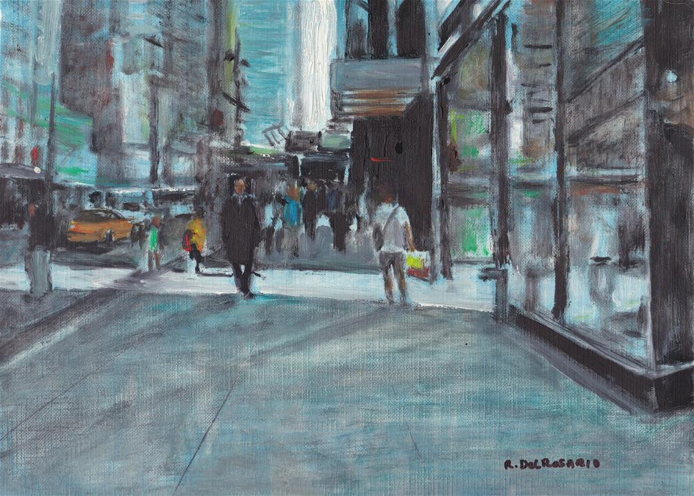 """Going Back to The Office (8 x 10 Oil on canvas sheet - Unframed)"" original fine art by Ramon DelRosario"