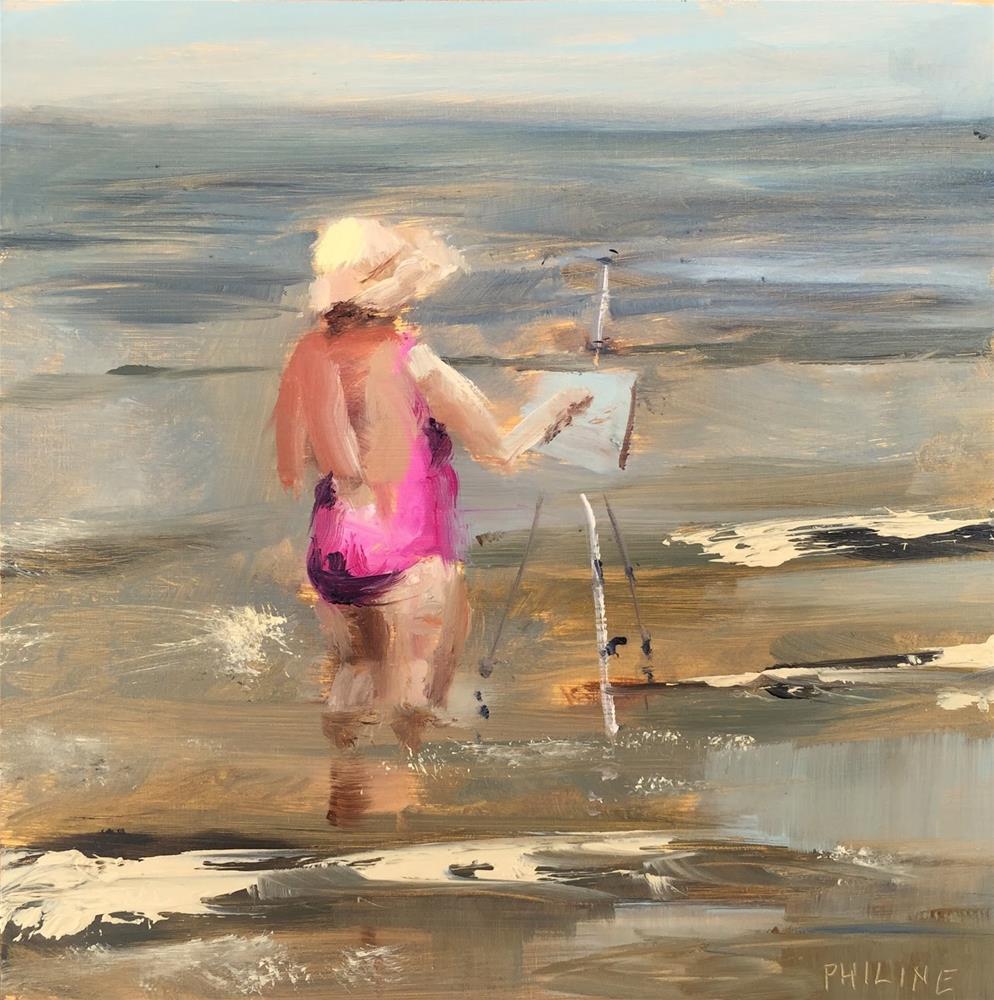 """""""Pink painter"""" original fine art by Philine van der Vegte"""
