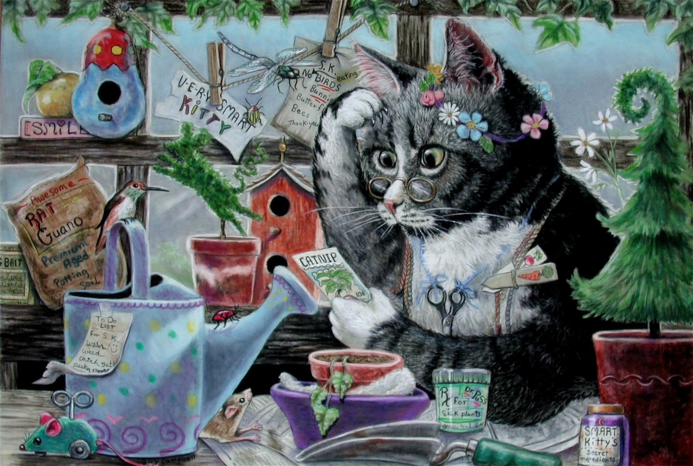 """Smart Kitty"" original fine art by Joy Campbell"