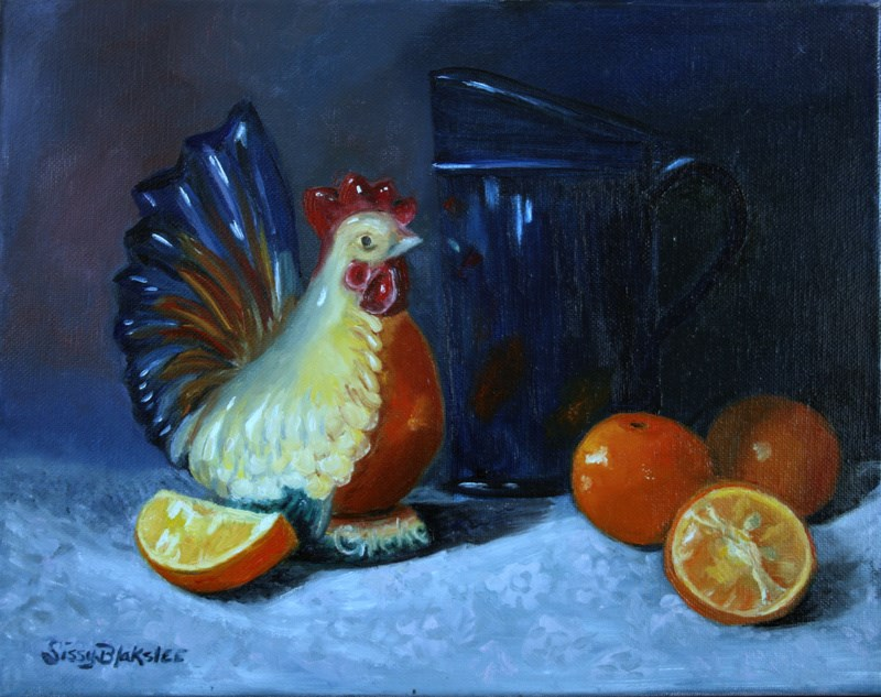 """Royal Copley Chicken Bank and Oranges"" original fine art by Sissy Blakslee"
